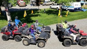 ATV riders leaving Swiftwater RV Park for a morning ride
