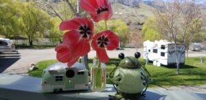 Whimsical trio of a mini trailer, tulips & frog on deck overlooking Park