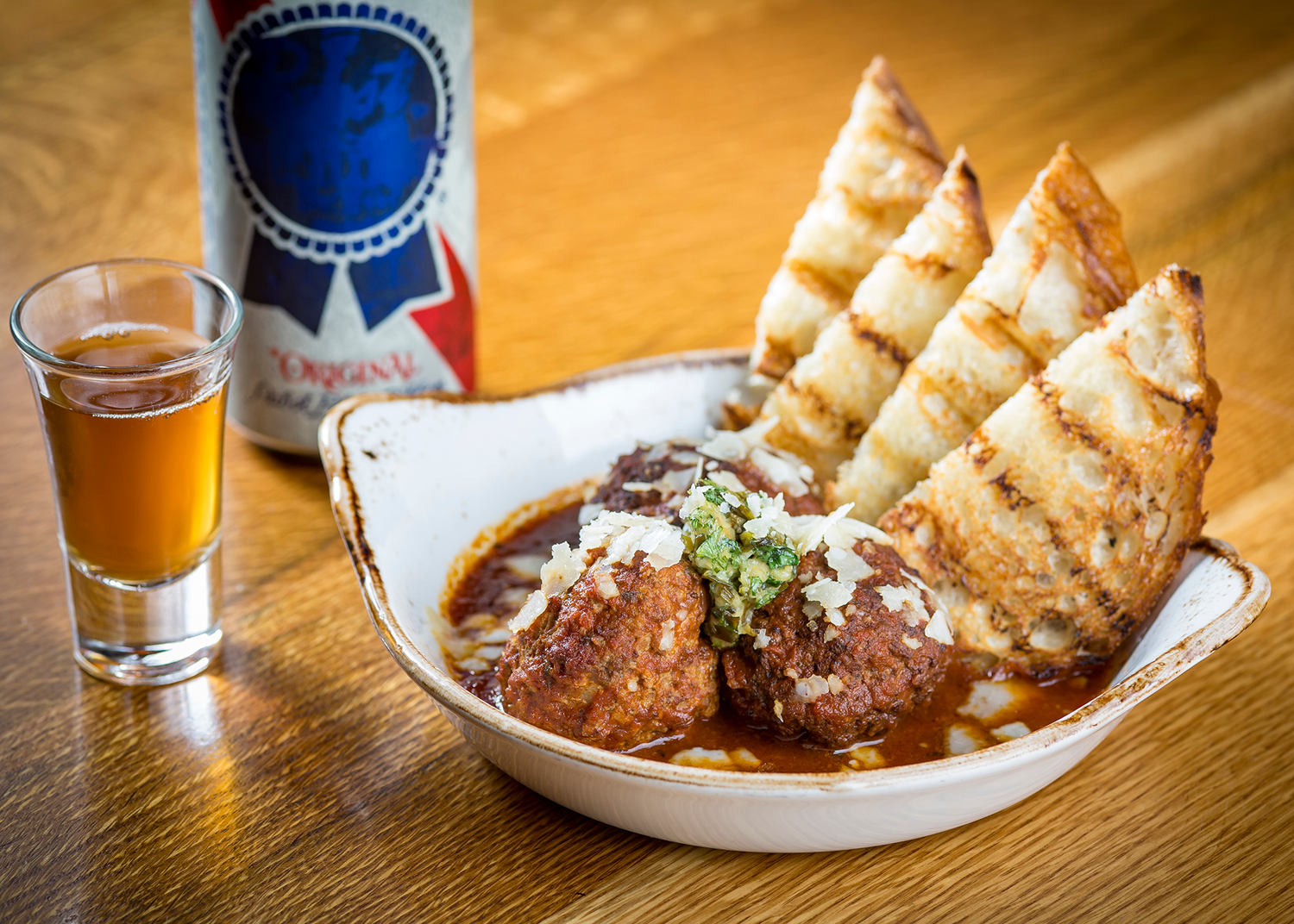 Meatballs-with-tallboy-and-a-shot