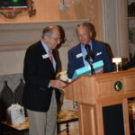 Steve Kirmse presenting Hank Baer with gift at the Benefactor Party.