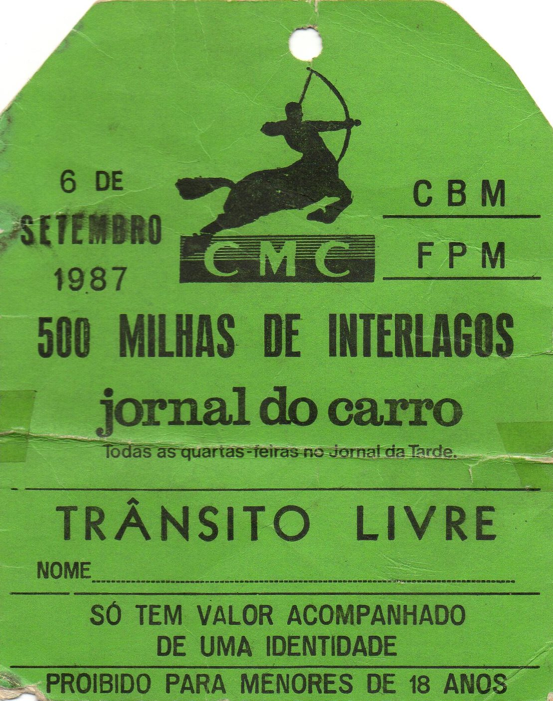Credencial 500 Milhas de Interlagos de 1987 de José Luiz Gonsalves Foto: acervo José Luiz / Motostory