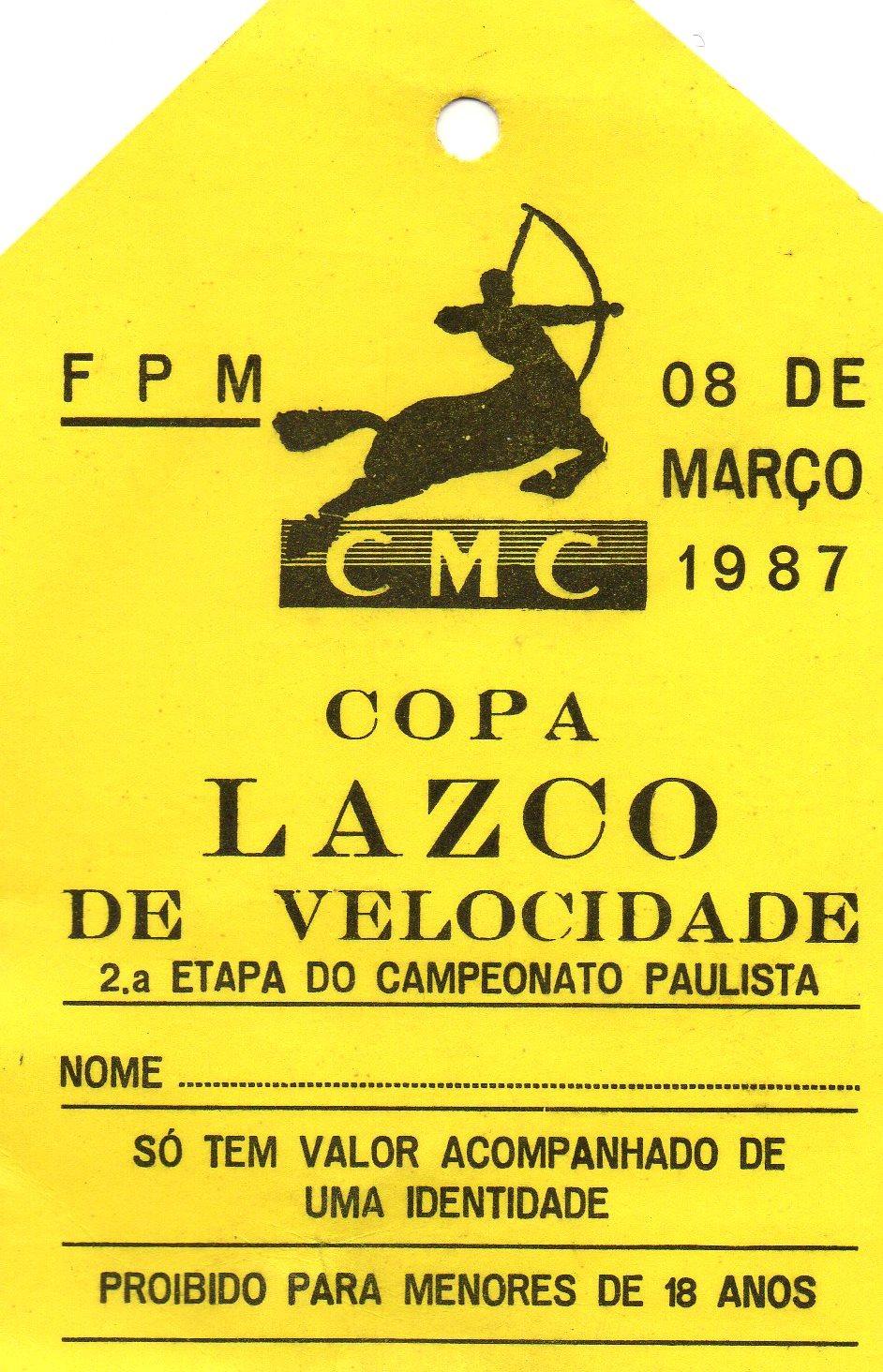 Credencial da Copa Lazco de Motovelocidade 1987 de José Luiz Gonsalves Foto: acervo José Luiz / Motostory
