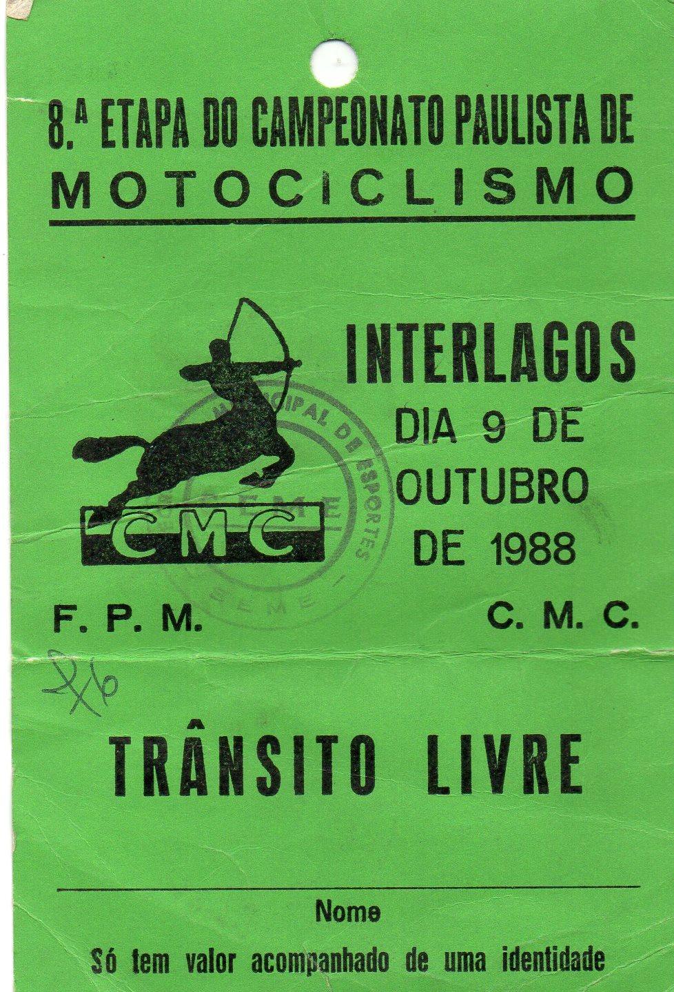 Credencial de José Luiz Gonsalves de 1988 Foto: acervo José Luiz / Motostory