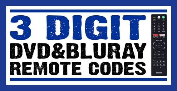 Remote codes for DVD BLURAY - 3 digit