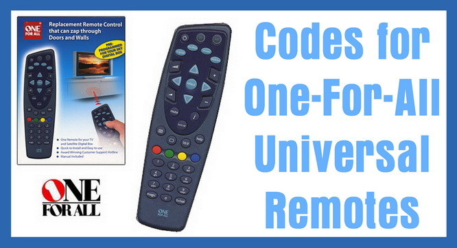 All-For-One Universal Remote Codes For TVs