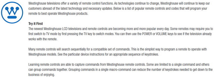 Westinghouse remote codes