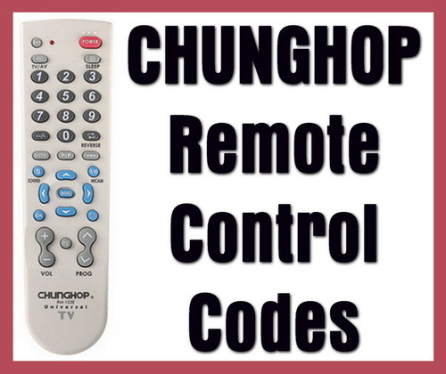 CHUNGHOP remote control codes