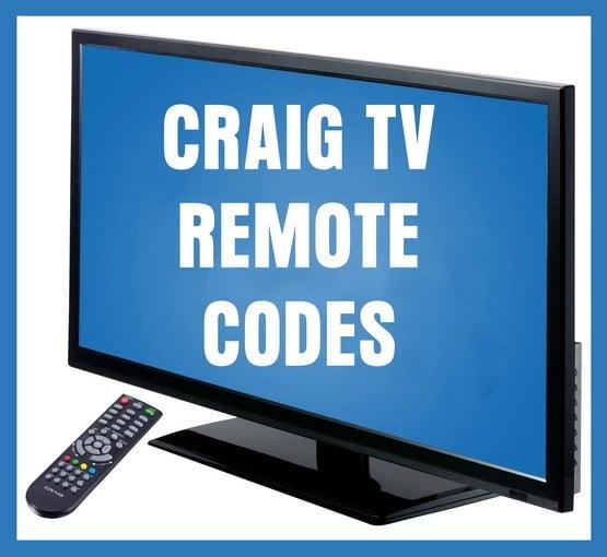 Craig tv remote codes