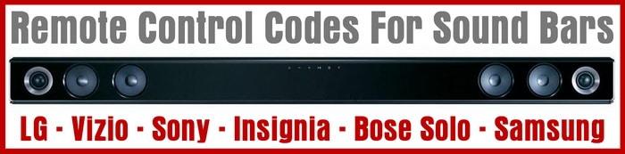 Remote Control Codes For Sound Bars
