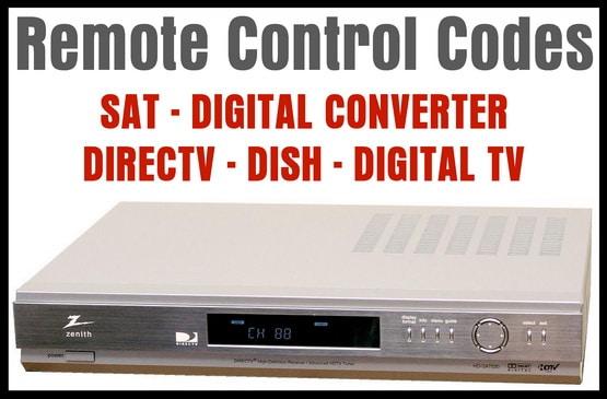SAT DTV DISH DIRECTV TUNER Universal Remote Codes
