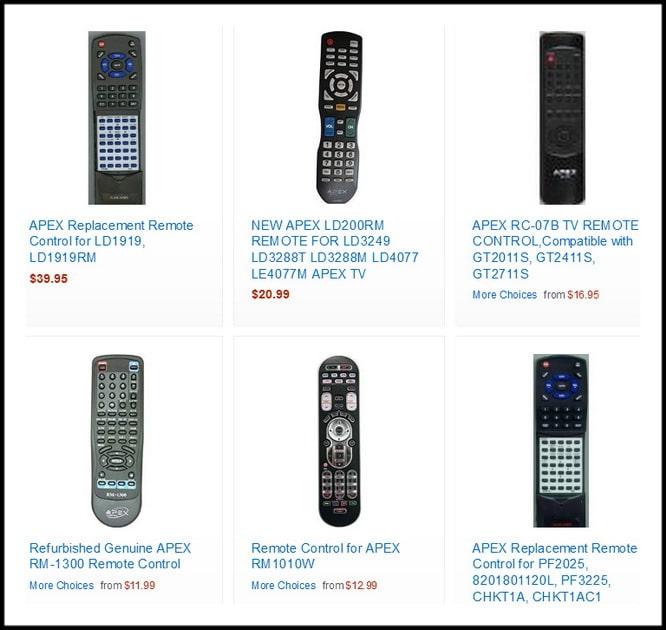 APEX TV Replacement Remotes