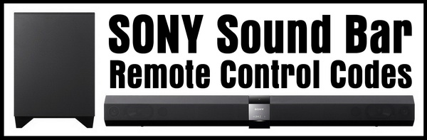 Remote Control Codes For SONY Sound Bars