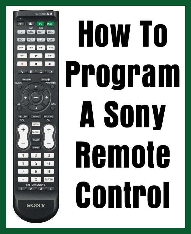 Sony Remote Control - How To Program