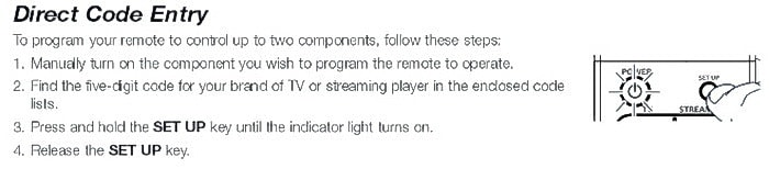 Streaming Media Player - Direct RCA Remote Code Setup 1