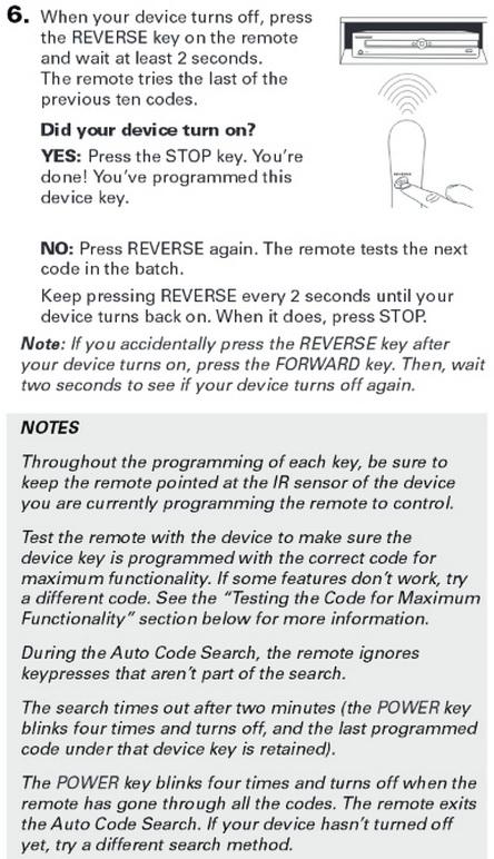 rca rcr313br universal 3 device remote control AUTO CODE SEARCH 5