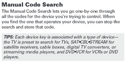 rca rcr313br universal 3 device remote control MANUAL CODE SEARCH 1