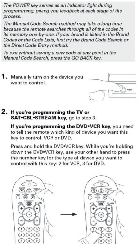 rca rcr313br universal 3 device remote control MANUAL CODE SEARCH 2