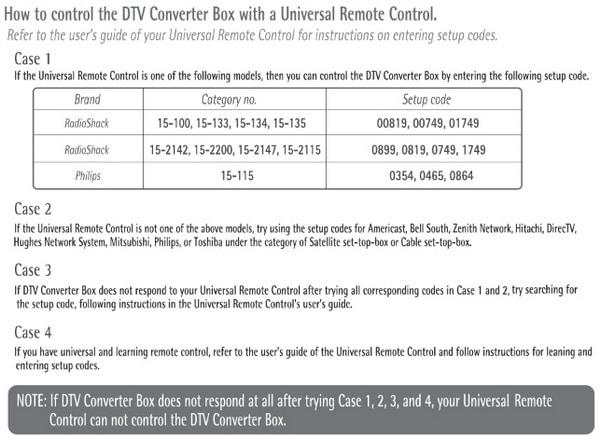 Digital Stream DTX remote control codes