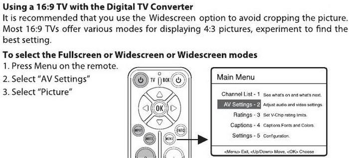 RCA Converter Box Remote - Setting Fullscreen or Widescreen Modes
