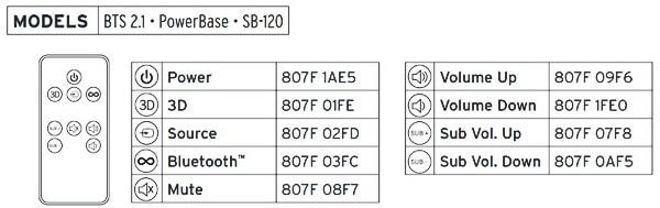 klipsch sound bar hex codes 3