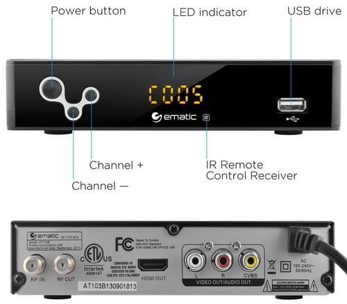 Ematic Digital TV Converter Box Button Location