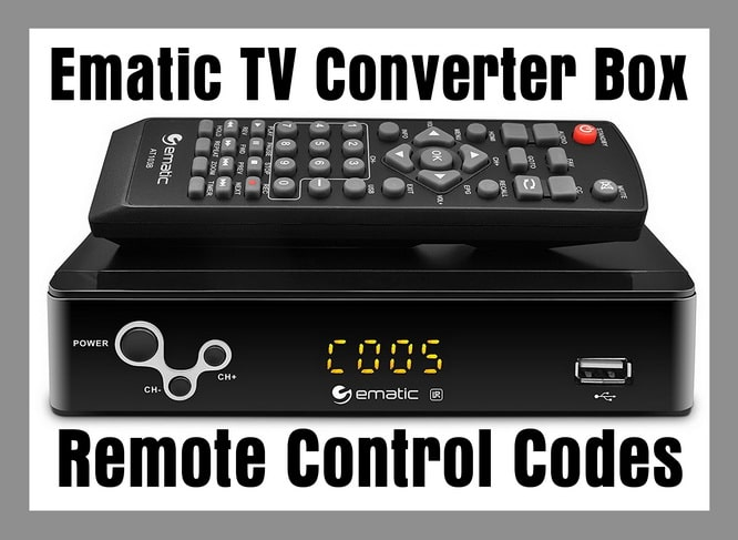 Ematic Digital TV Converter Box Remote Control Codes