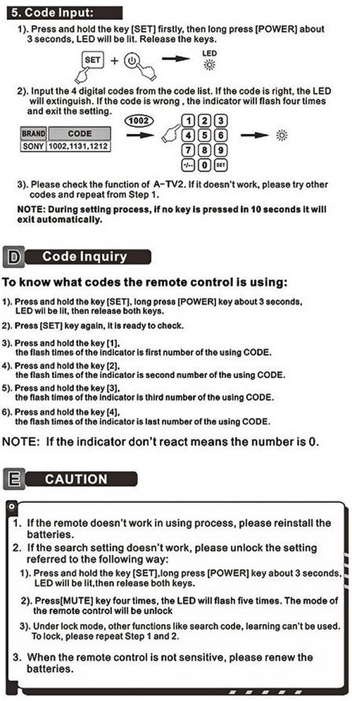Gmatrix Remote A-TV2 - Users and Instruction Manual 3