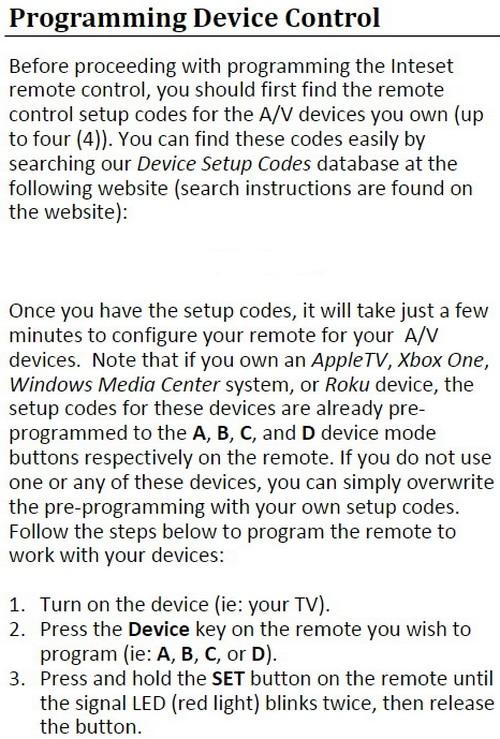 Inteset Remote INT-422 Programming Guide 1