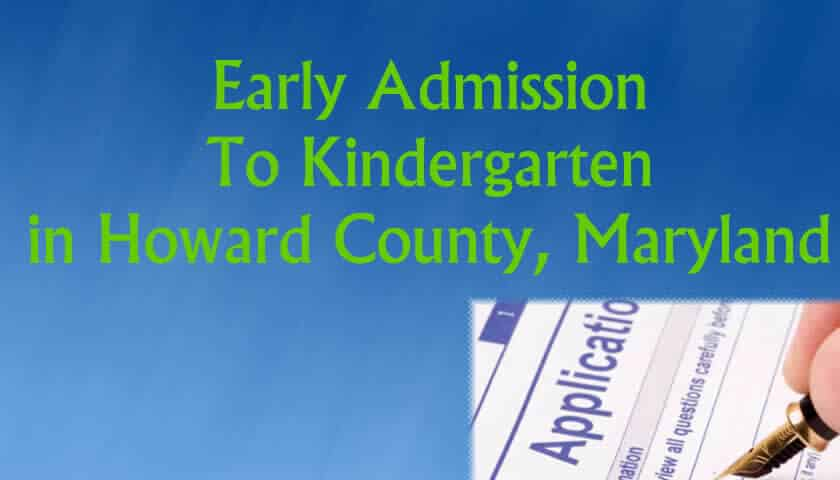 Early Admission to Kindergarten in Maryland - Howard County