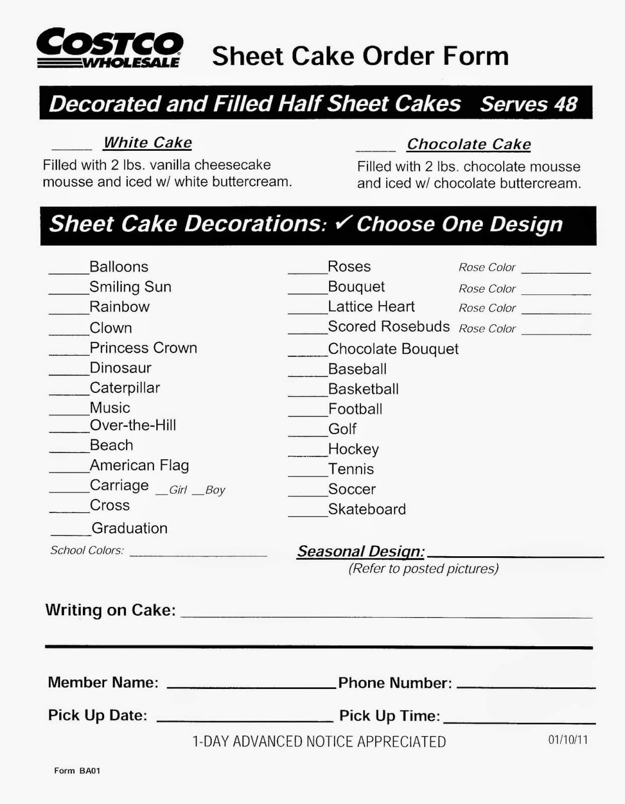 Costco Cake Order Form