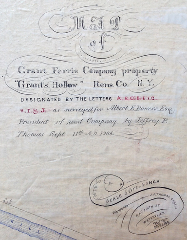 """MAP of Grant Ferris Company property """"Grant's Hollow"""" Rens. Co. N.Y. [...] as surveyed for <a href="""