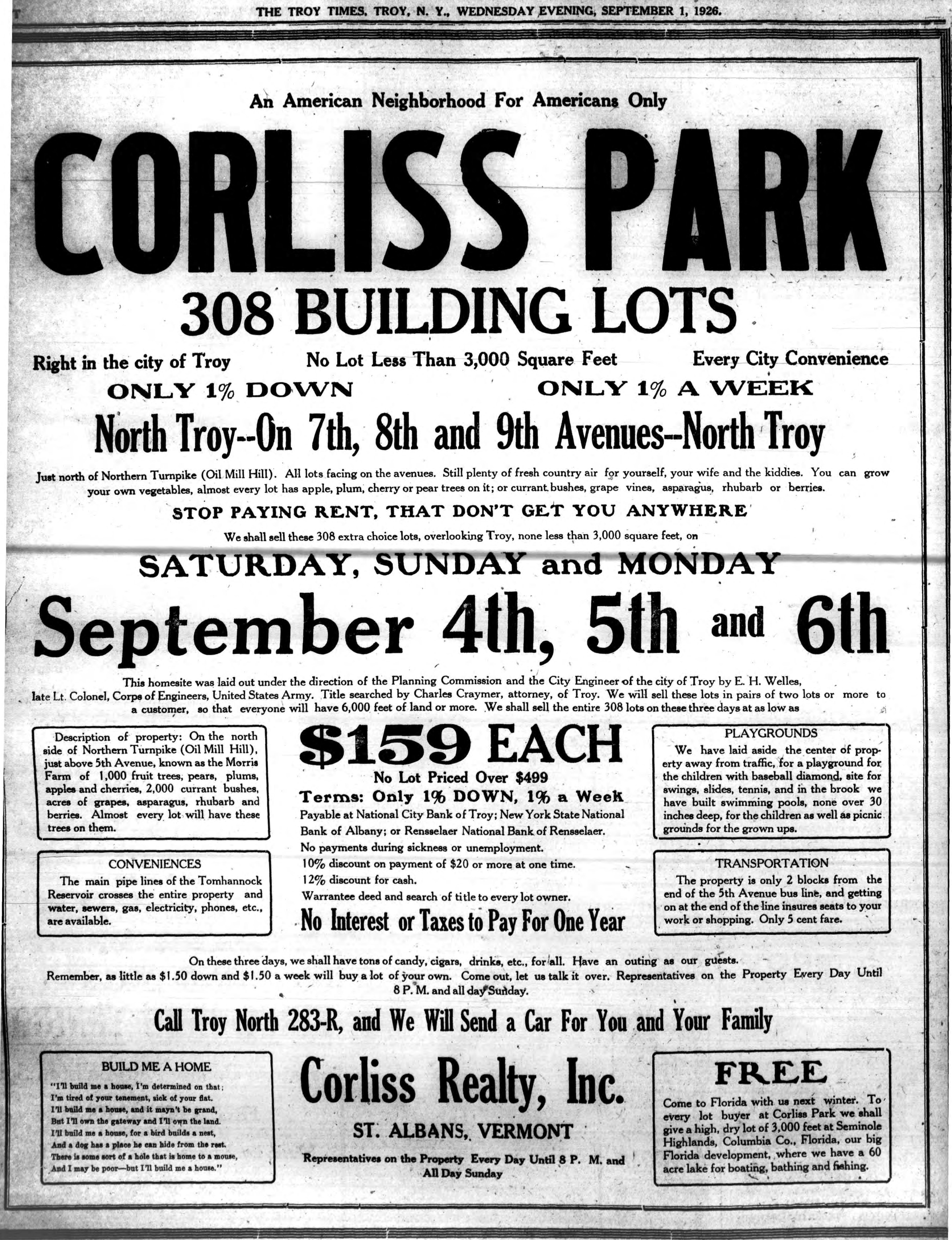 1933 Corliss Park ad