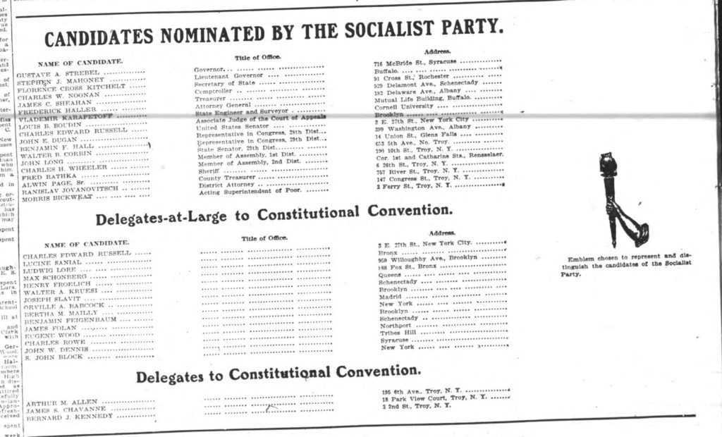 """""""Candidates Nominated by the Socialist Party."""" Troy Times. November 2, 1914: 12. (Image cropped from scan by fultonhistory.com)"""