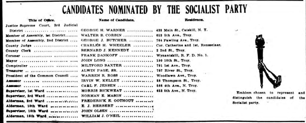 """""""Candidates Nominated by the Socialist Party."""" Troy Times. November 1, 1915 (Image cropped from scan by fultonhistory.com)"""
