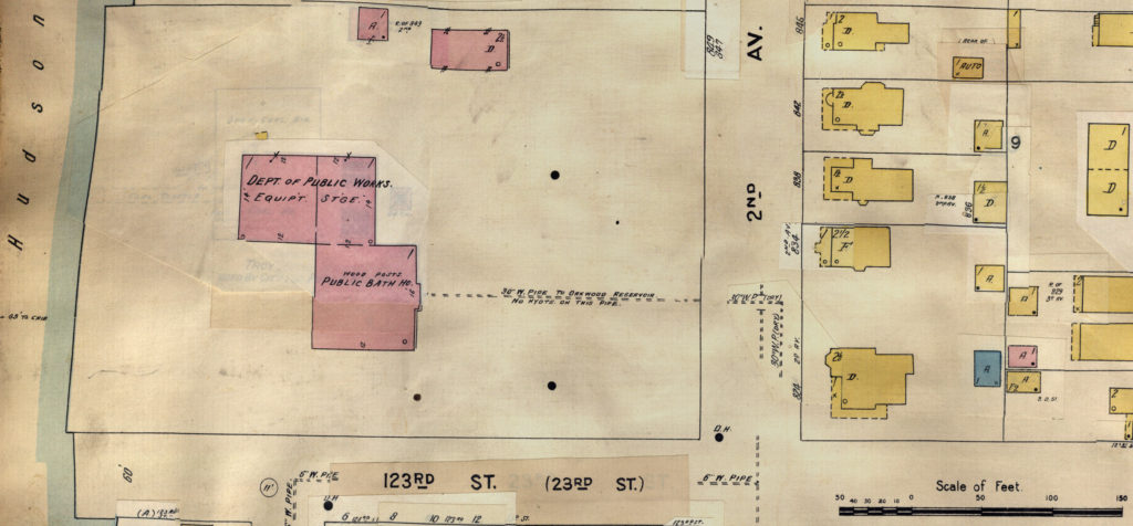 Bath House at 2nd Avenue and 123rd Street from Sanborn Insurance Maps: Troy, NY, 1903, Vol. 1., Map 51. (Cropped from scan by RPI)