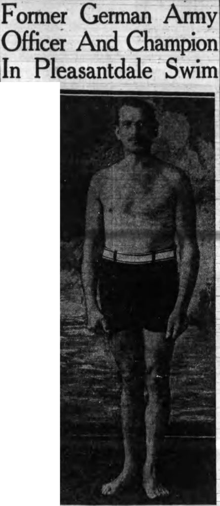"""""""Former German Army Officer And Champion In Pleasantdale Swim."""" Albany Times Union. August 13, 1927"""