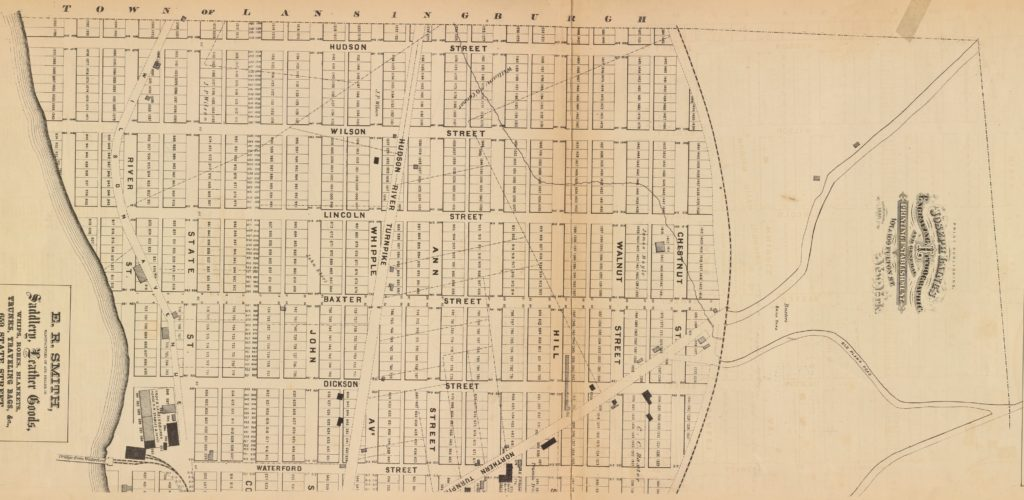 1872 John Bevan map of actual and proposed roads north of 126th Street (formerly Waterford Street); cropped from NYPL image.