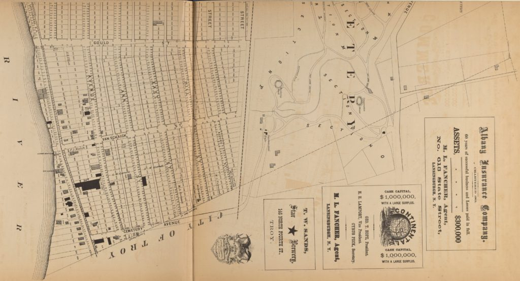 1872 John Bevan map of Lansingburgh from 101st Street (formerly Cemetery Avenue) north; cropped from NYPL image.