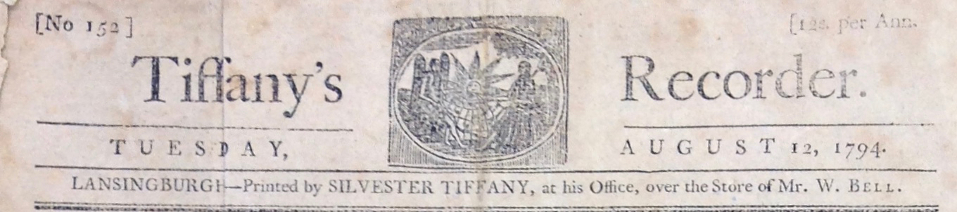 Tiffany's Recorder. (Masthead.)