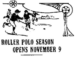Illustration of four roller polo players as a header to an article.