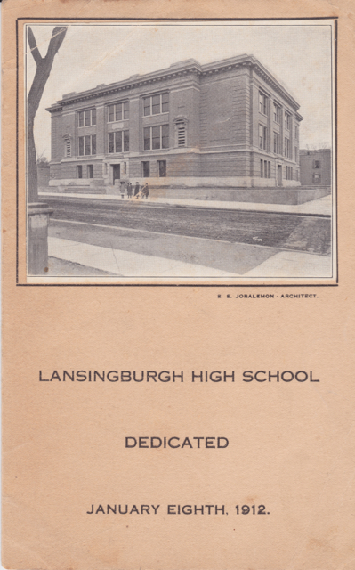 "Black and white photo taken from west side of Fifth Avenue.  ""Lansingburgh High School Dedicated January Eighth, 1912"" ""E. E. Joralemon - Architect."""