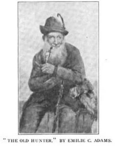 Black and white image of bearded old man with pipe, seated, in hunting outfit.