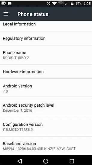 software version number is 25.11.10.kinzie_verizon.verizon.en.US