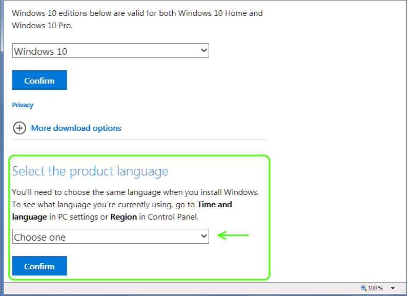 Windows 10 ISO language selection
