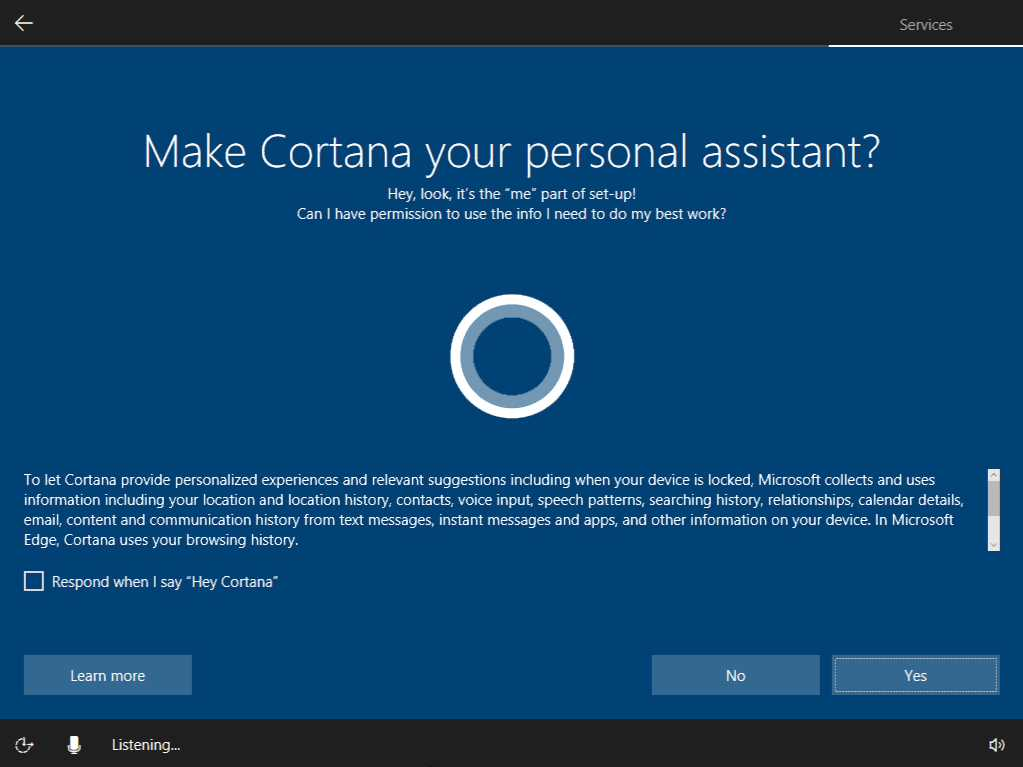 Enable Cortana for Windows 10
