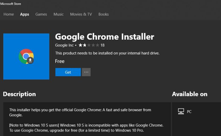 Google Chrome Installer from Windows Store