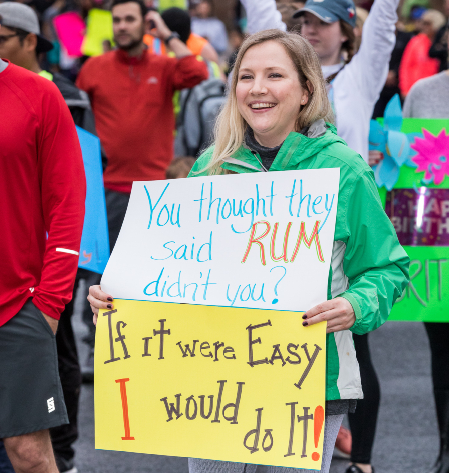 funny running sign for the 3M Half Marathon