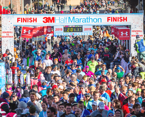 Runners pack the finish line at the 2019 3M Half Marathon