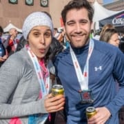 Runners celebrate in the beer garden, one of the 13.1 reasons runners love 3M Half Marathon.