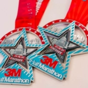 2020 finisher medal for the 3M Half Marathon presented by Under Armour.